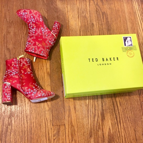 shop for original complimentary shipping unbeatable price Ted Baker Ishbel Red Asian Print Embroidered Boot NWT